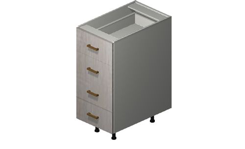 """Cortina Oyster Shell Base Cabinet - 4 Drawers (15 x 34.75 x 24"""")"""""""""""