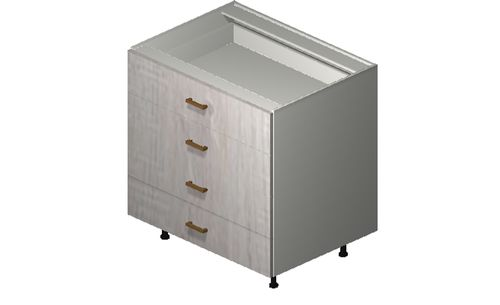 """Cortina Oyster Shell Base Cabinet - 4 Drawers (33 x 34.75 x 24"""")"""""""""""