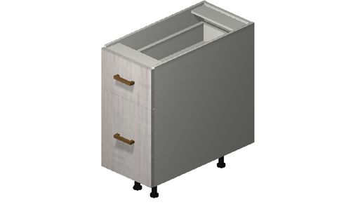 """Cortina Oyster Shell Desk Base Cabinet - 2 Drawers (12 x 27.13 x 24"""")"""""""""""
