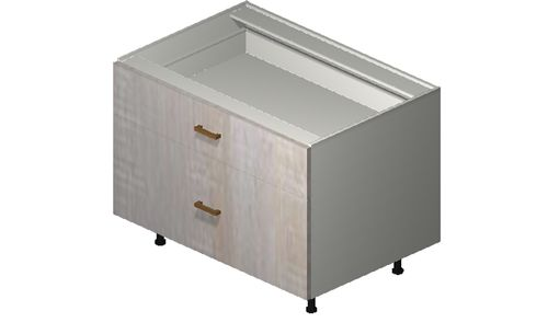"""Cortina Oyster Shell Desk Base Cabinet - 2 Drawers (36 x 27.13 x 24"""")"""""""""""
