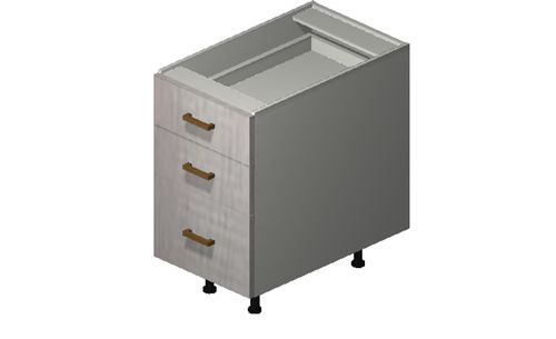 """Cortina Oyster Shell Desk Base Cabinet - 3 Drawers (15 x 27.13 x 24"""")"""""""""""