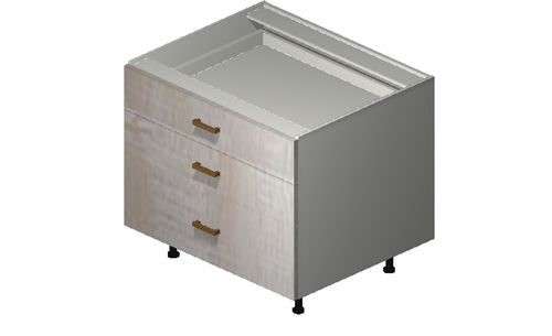 """Cortina Oyster Shell Desk Base Cabinet - 3 Drawers (30 x 27.13 x 24"""")"""""""""""