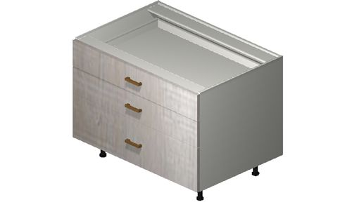 """Cortina Oyster Shell Desk Base Cabinet - 3 Drawers (36 x 27.13 x 24"""")"""""""""""