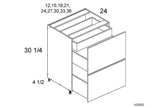 """Cortina Conch Shell Base Cabinet - 2 Drawers, 1 Inner Drawer (12 x 34.75 x 24"""")"""""""""""