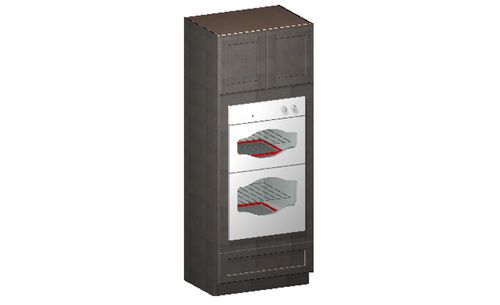 """Shaker Cinder Oven Tall Cabinet - 2 Doors, 3 Drawers (26.5 x 84"""" x 24"""")"""""""