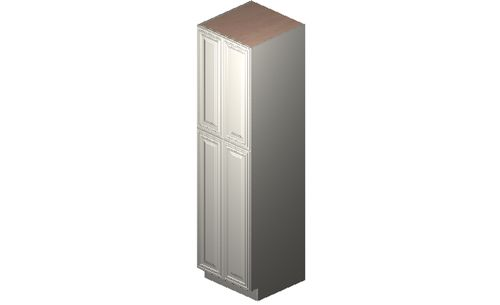 """Wildwood Antique White Tall Cabinet - 4 Doors, 4 Rollout Shelves (24 x 90"""" x 24"""")"""""""