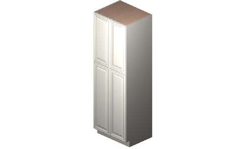 """Wildwood Antique White Tall Cabinet - 4 Doors, 4 Rollout Shelves (30 x 90"""" x 24"""")"""""""