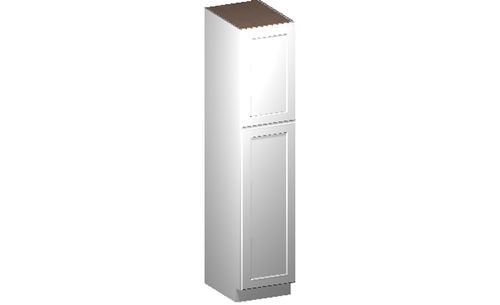"""Shaker White Tall Cabinet - 2 Door, 4 Rollout Shelves (18 x 84"""" x 24"""")"""""""