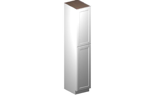 """Shaker White Tall Cabinet - 2 Door, 4 Rollout Shelves (18 x 96"""" x 24"""")"""""""