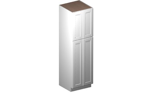 """Shaker White Tall Cabinet - 4 Doors, 4 Rollout Shelves (24 x 84"""" x 24"""")"""""""