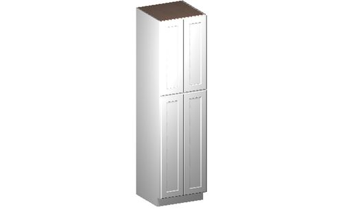"""Shaker White Tall Cabinet - 4 Doors, 4 Rollout Shelves (24 x 90"""" x 24"""")"""""""