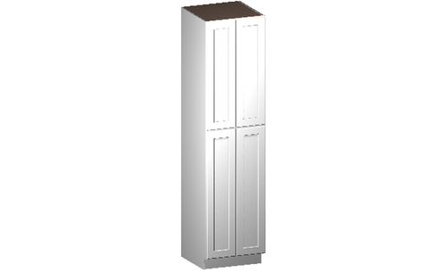 """Shaker White Tall Cabinet - 4 Doors, 4 Rollout Shelves (24 x 96"""" x 24"""")"""""""