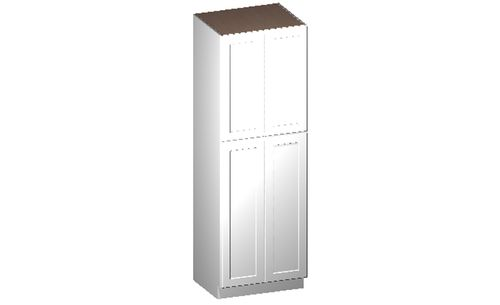 """Shaker White Tall Cabinet - 4 Doors, 4 Rollout Shelves (30 x 90"""" x 24"""")"""""""