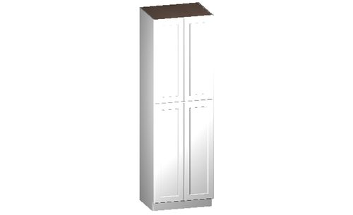 """Shaker White Tall Cabinet - 4 Doors, 4 Rollout Shelves (30 x 96"""" x 24"""")"""""""