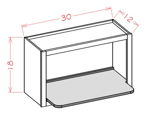 """Shaker Cinder Microwave Wall Cabinet (30 x 18"""" x 12"""")"""""""