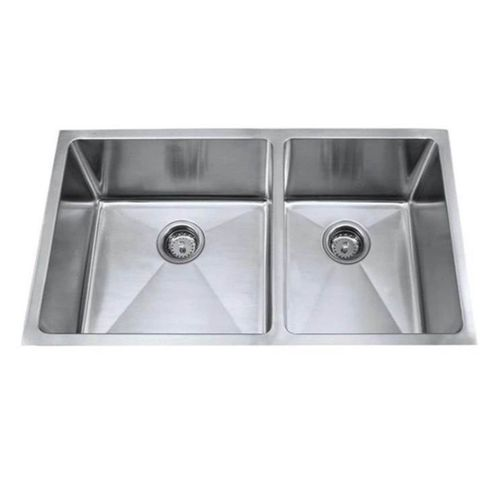 """Sela 33"""" Double Basin Undermount Kitchen Sink with Radial Corners in Stainless Steel"""