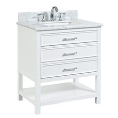 """North Harbor White Freestanding Cabinet with Single Basin Integrated Sink and Countertop - Three Drawers (31 x 34.75"""" x 22"""")"""""""