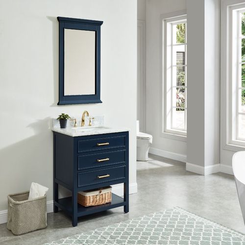 """North Harbor Navy Blue Freestanding Cabinet with Single Basin Integrated Sink and Countertop - Three Drawers (31 x 34.75"""" x 22"""")"""""""