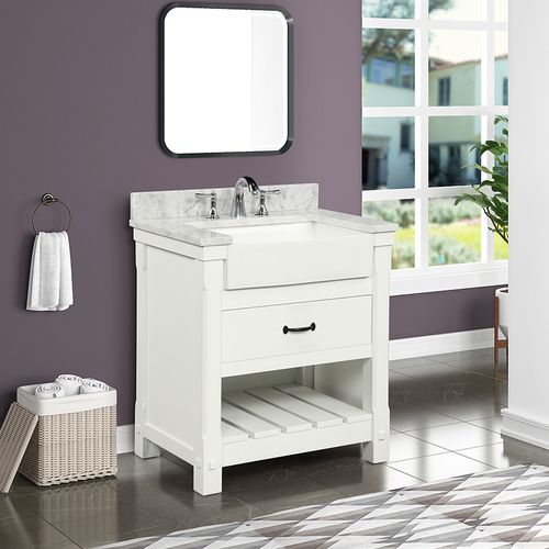 """Park Mill White Freestanding Cabinet with Single Basin Integrated Sink and Countertop - One Drawers (31 x 35"""" x 22"""")"""""""
