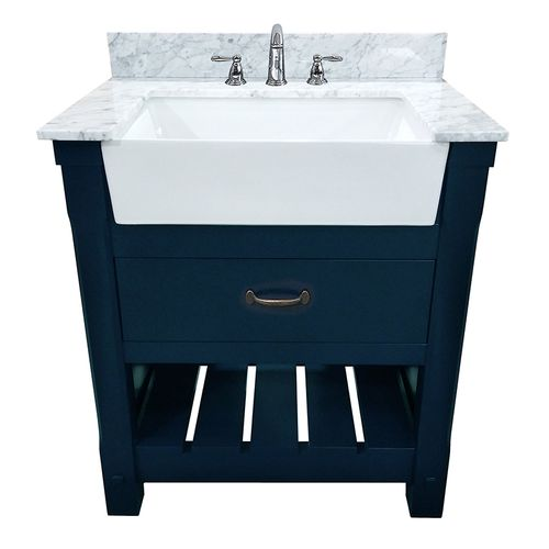 """Park Mill Navy Blue Freestanding Cabinet with Single Basin Integrated Sink and Countertop - One Drawers (31 x 35"""" x 22"""")"""""""
