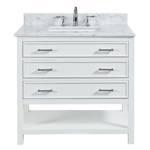 """North Harbor White Freestanding Cabinet with Single Basin Integrated Sink and Countertop - Three Drawers (37 x 34.75"""" x 22"""")"""""""