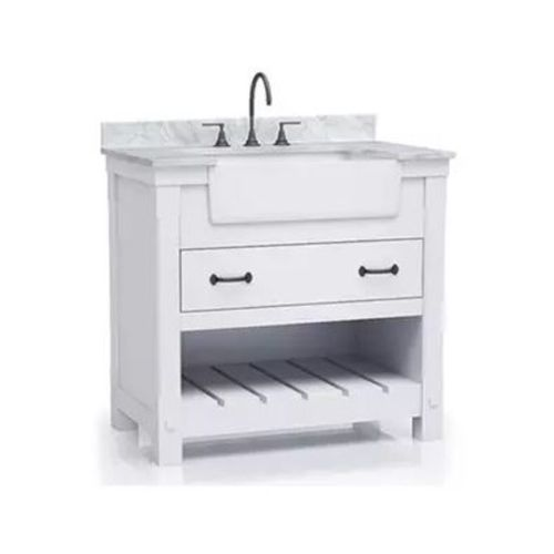 """Park Mill White Freestanding Cabinet with Single Basin Integrated Sink and Countertop - One Drawers (37 x 35"""" x 22"""")"""""""