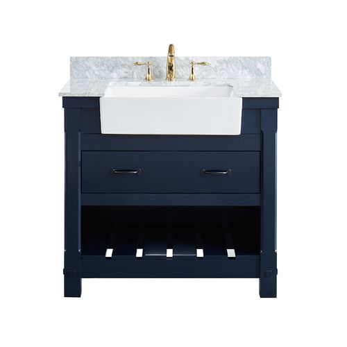 """Park Mill Navy Blue Freestanding Cabinet with Single Basin Integrated Sink and Countertop - One Drawers (37 x 35"""" x 22"""")"""""""