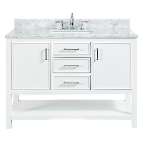 """North Harbor White Freestanding Cabinet with Single Basin Integrated Sink and Countertop - Three Drawers (49 x 34.75"""" x 22"""")"""""""