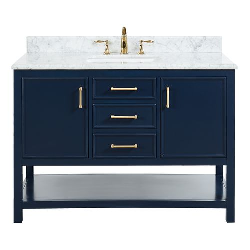 """North Harbor Navy Blue Freestanding Cabinet with Single Basin Integrated Sink and Countertop - Three Drawers (49 x 34.75"""" x 22"""")"""""""