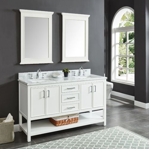 """North Harbor White Freestanding Cabinet with Double Basin Integrated Sink and Countertop - Three Drawers (61 x 34.75"""" x 22"""")"""""""