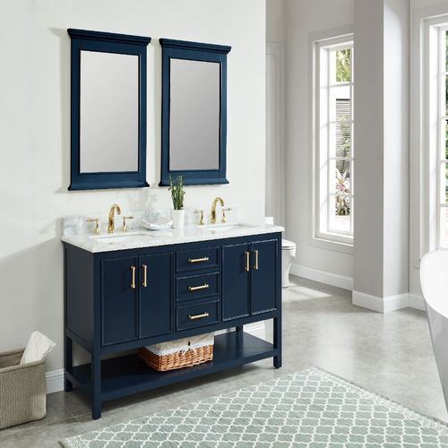 """North Harbor Navy Blue Freestanding Cabinet with Double Basin Integrated Sink and Countertop - Three Drawers (61"""" x 34.75"""" x 22"""")"""