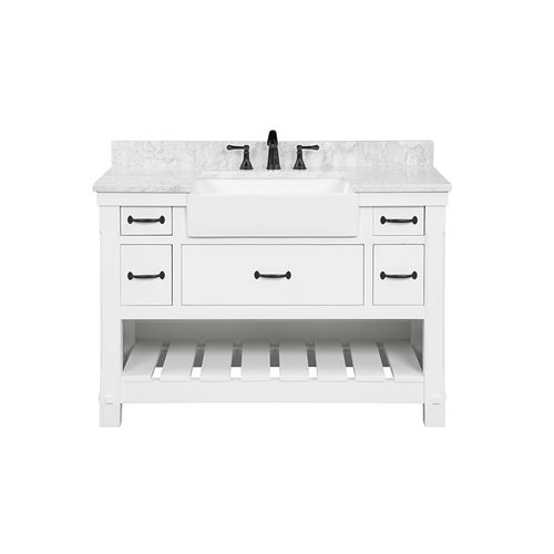 """Park Mill White Freestanding Cabinet with Single Basin Integrated Sink and Countertop - Five Drawers (49 x 35"""" x 22"""")"""""""