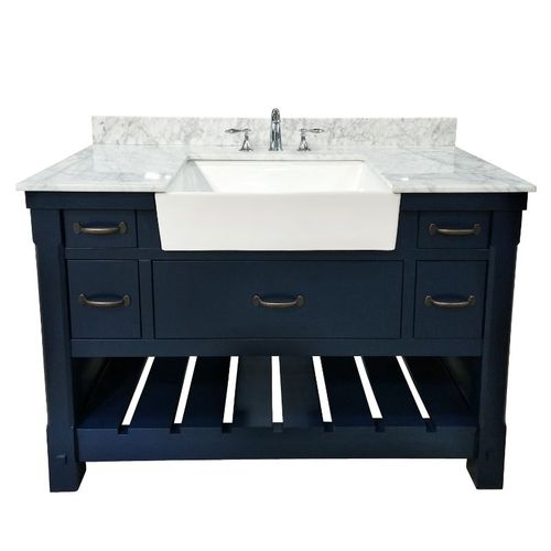"""Park Mill Navy Blue Freestanding Cabinet with Single Basin Integrated Sink and Countertop - Five Drawers (49 x 35"""" x 22"""")"""""""