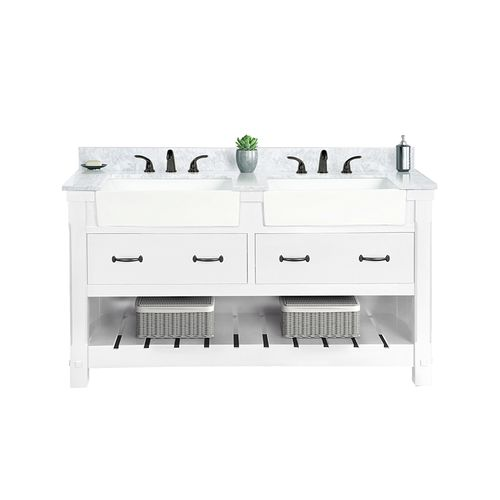 Wilora Freestanding Cabinet with Double Basin Sink and Counter