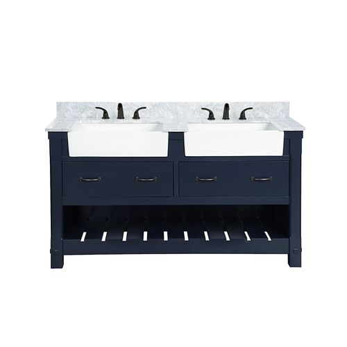 """Park Mill Navy Blue Freestanding Cabinet with Double Basin Integrated Sink and Countertop - Two Drawers (61 x 35"""" x 22"""")"""""""
