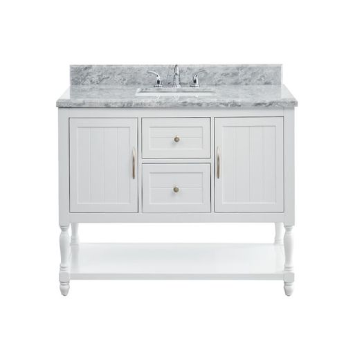 """Hartwell Cove Dove White Freestanding Cabinet with Single Basin Integrated Sink and Countertop - Two Drawers (49 x 35"""" x 22"""")"""""""