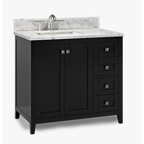 """Beck Espresso Freestanding Vanity Cabinet with Single Basin Integrated Sink and Countertop - Two Doors, Three Drawers (37 x 34.5"""" x 22"""")"""""""