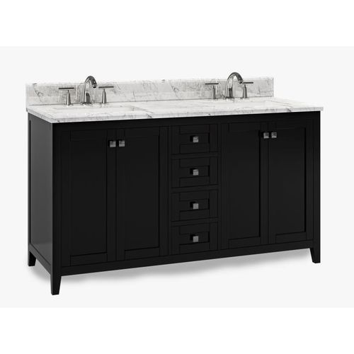 """Beck Espresso Freestanding Vanity Cabinet with Double Basin Integrated Sink and Countertop - Four Doors, Four Drawers (61 x 34.5"""" x 22"""")"""""""