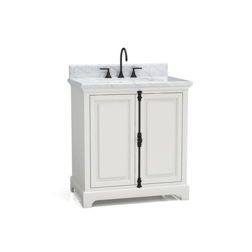 """Hillsdale Dove White Freestanding Vanity Cabinet with Single Basin Integrated Sink and Countertop - Two Doors (31 x 34.5"""" x 22"""")"""""""