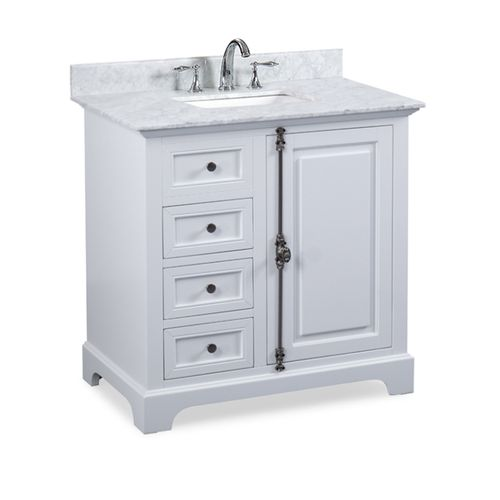 """Hillsdale Dove White Freestanding Vanity Cabinet with Single Basin Integrated Sink and Countertop - One Door, Two Drawers (37 x 34.5"""" x 22"""")"""""""