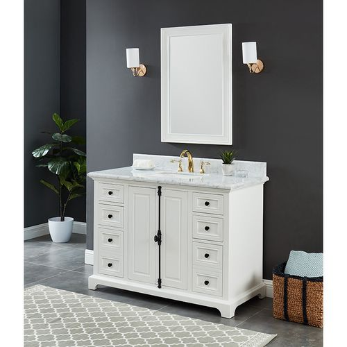 """Hillsdale Dove White Freestanding Vanity Cabinet with Single Basin Integrated Sink and Countertop - Two Doors, Six Drawers (49 x 34.5"""" x 22"""")"""""""