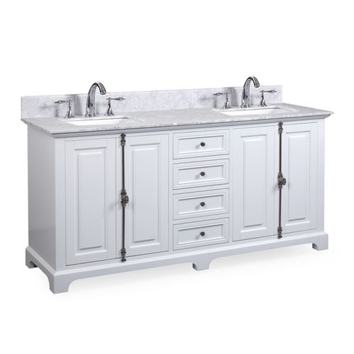 """Hillsdale Dove White Freestanding Vanity Cabinet with Double Basin Integrated Sink and Countertop - Four Doors, Four Drawers (61 x 34.5"""" x 22"""")"""""""