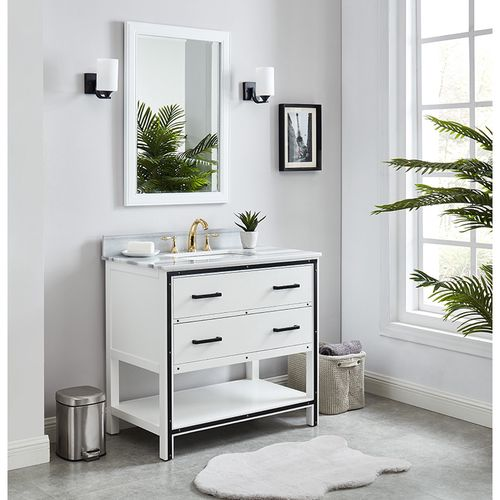 Wilora Dove White Freestanding Vanity Cabinet with Single Basin Integrated Sink