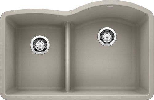 "Diamond 40/60 Double-Basin Undermount Granite Kitchen Sink with Low-Divide - Concrete Grey (32"" x 21"" x 9.5"")"