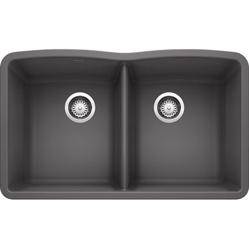 "Diamond 32.06"" Granite 50/50 Double-Basin Undermount Kitchen Sink in Cinder (32.06"" x 19.38"" x 9.5"")"