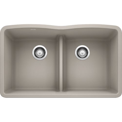 """Diamond 32.06"""" Granite 50/50 Double-Basin Undermount Kitchen Sink (with Low-Divide) in Concrete Grey (32.06"""" x 19.38"""" x 9.5"""")"""