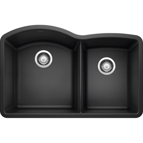 "Diamond 32"" Granite 60/40 Double-Basin Undermount Kitchen Sink in Anthracite (32"" x 21"" x 9.5"")"
