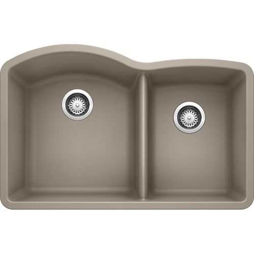 "Diamond 32"" Granite 60/40 Double-Basin Undermount Kitchen Sink in Truffle (32"" x 21"" x 9.5"")"