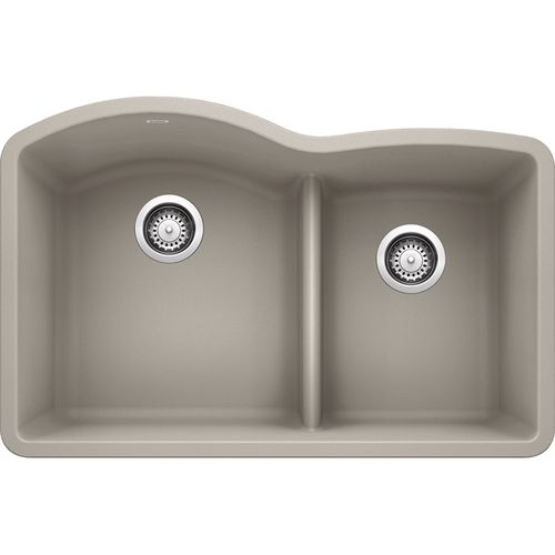 """Diamond 32"""" Granite 60/40 Double-Basin Undermount Kitchen Sink (with Low-Divide) in Concrete Grey (32"""" x 21"""" x 9.5"""")"""