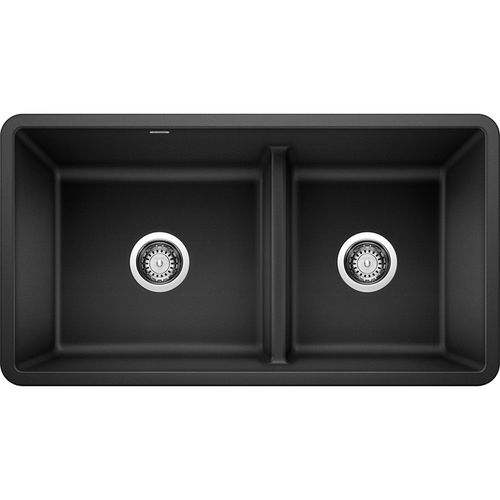 """Precis 33"""" Granite 60/40 Double-Basin Undermount Kitchen Sink (with Low-Divide) in Anthracite (33"""" x 18"""" x 9.5"""")"""